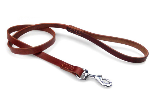 Soft Touch Collars Leather Braided Dog Leash, Brown