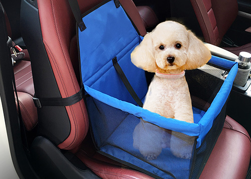 Dog Car Seat Booster Oxford with Storage Pocket and Free Safety Belt
