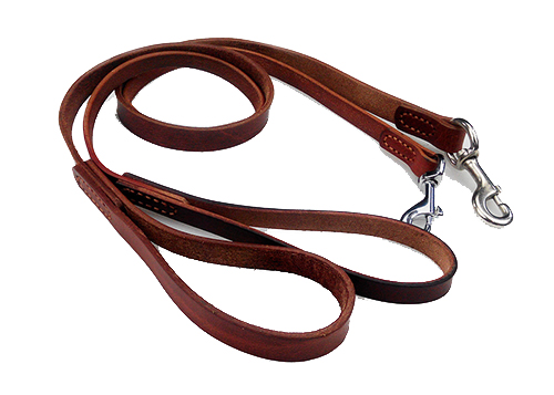 Simple and practical Cow leather short dogs leash wtih spring