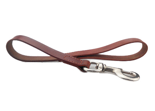 Brown Round Genuine Rolled Leather Dog Short Leash 5/8 Wide Lead for Large Breeds